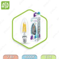 Лампа светодиодная LED-СВЕЧА-PREMIUM 7Вт 160-260В Е14 4000К 630Лм прозрачная ASD