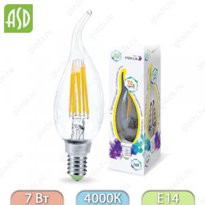 Лампа светодиодная LED-СВЕЧА НА ВЕТРУ-PREMIUM 7Вт 160-260В Е14 4000К 630Лм прозрачная ASD