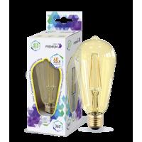 Лампа светодиодная LED-ST64-PRM 6Вт 230В Е27 3000К 540Лм золотистая ASD
