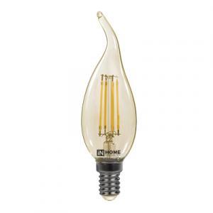 Лампа светодиодная LED-СВЕЧА  НА ВЕТРУ-deco 7Вт 230В Е14 3000К 630Лм золотистая IN HOME