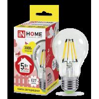Лампа светодиодная LED-A60-deco 5Вт 230В Е27 3000К 450Лм прозрачная IN HOME