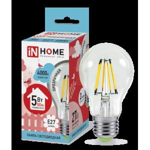 Лампа светодиодная LED-A60-deco 5Вт 230В Е27 4000К 450Лм прозрачная IN HOME