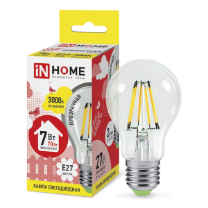 Лампа светодиодная LED-A60-deco 7Вт 230В Е27 3000К 630Лм прозрачная IN HOME