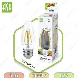 Светодиодная лампа LED Filament COB свеча E27 5 Вт 3000К 450Лм