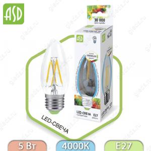 Светодиодная лампа LED Filament COB свеча E27 5 Вт 4000К 450Лм