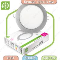 Панель светодиодная круглая RLP-eco 8Вт 160-260В 4000К 640Лм 120/105мм белая IP40