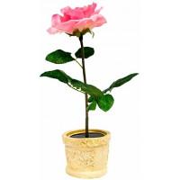 """Светильник садово-парковый на солнечной батарее """"Роза в горшке"""" розовый, 1  LED белый, PL306"""