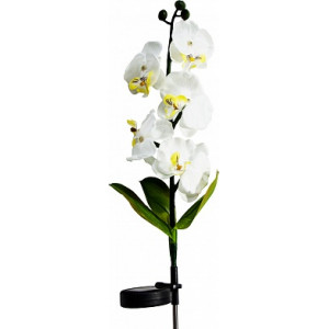 """Светильник садово-парковый на солнечной батарее """"Орхидея белая с желтым"""", 5 LED  белый, 70см , PL301"""