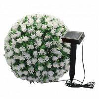 """Светильник садово-парковый на солнечной батарее """"Цветочный шар"""", белый, 20 LED (белый), D 28 см , E5209, арт.06266"""