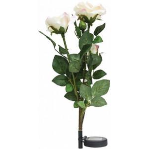 """Светильник садово-парковый на солнечной батарее """"Ветка розы"""", белый, 3 LED (белый), H 80cм , PL308, артикул 06267"""