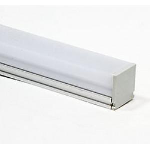 Профиль алюминиевый накладной с заглушками, c квадратной крышкой, серебро, CAB275
