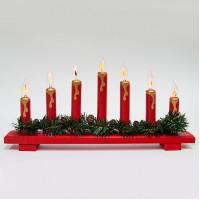 Деревянная световая фигура, 7 ламп накаливая с эффектом пламени, цвет свечения: теплый белый,  45*5*24 см, шнур 1,5 м , IP20, LT088