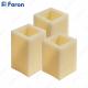 Свечи светодиодные Прямоугольные FL074 3 шт*1LED мультиколор, с П/У, 8*8*10; 8*8*12,5; 8*8*15 см
