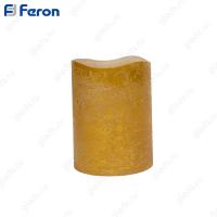 Свеча светодидоная Цилиндр золото FL065 1 шт*1LED янтарный, 7,5*10 см