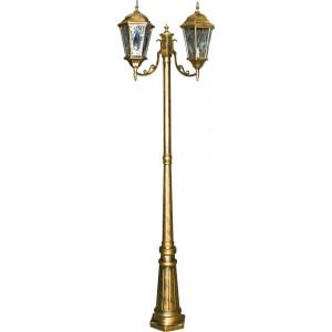 Светильник садово-парковый PL157 2*60W 230V E27 240*630*2200мм черное золото (большой, столб 2М)
