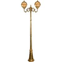 Светильник садово-парковый PL3808 2*60W 230V E27 600*220*2290мм черное золото (столб 2,15M)