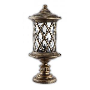 Светильник садово-парковый PL5024 60W 230V E27 180*180*415MM черное золото (на постамент)