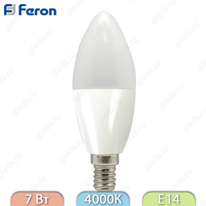 Лампа светодиодная, Свеча 16LED (7W) 230V E14 4000K, LB-97