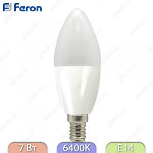 Лампа светодиодная, Свеча 16LED (7W) 230V E14 6400K, LB-97