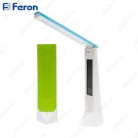Настольный светильник светодиодный DE1710 16LED 1,8W 5V 68*51*195мм, жк дисплей, диммирование, часы и температура, зеленый