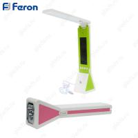 Настольный светильник светодиодный DE1711 18LED+3LED 2W 5V 225*65*45мм, жк дисплей, диммирование, часы, температура, фонарь, розовый