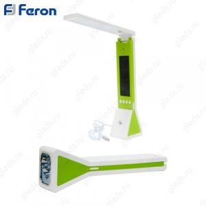Настольный светильник светодиодный DE1711 18LED+3LED 2W 5V 225*65*45мм, жк дисплей, диммирование, часы, температура, фонарь, зеленый