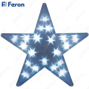 """Световая фигура """"звезда 3D"""", 15 LED белый, батарейки 2*АА, 35х8х35см LT027"""