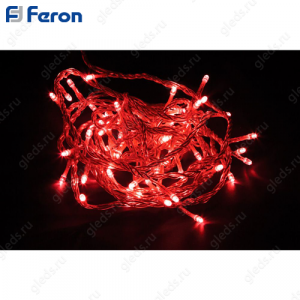Гирлянда линейная, 20 LED красный, 2м +1.5м прозрачный шнур CL02