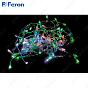 Гирлянда линейная, 10 LED мульти, батарейки 2*АА, 0,9м + 0.5м прозрачный шнур CL301