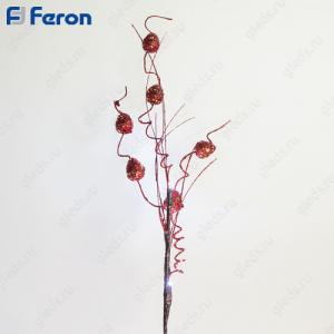 Ветка красная с шариками, 4LED, 62 см LD209B