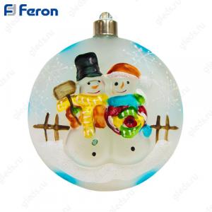 """Световая фигура стеклянная """"Ёлочная игрушка со снеговиками"""" 4 LED, д.10 см LT050"""
