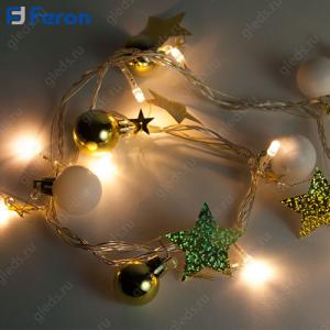 """Гирлянда """"Карнавал"""" (золото) 20 LED (теплый белый 2700К), 2м + 1,5м CL62"""