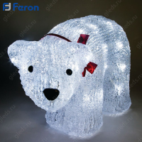 """Световая фигура акриловая """"Медведь средний"""" 40 LED (белый 6400К), 34*17*19,5 см, 1,5м шнур LT038"""
