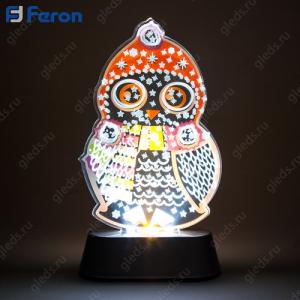 """Световая фигура на подставке """"Сова"""", 3 LED (белый), 3 AAA, 18,5*11*5 см LT098"""