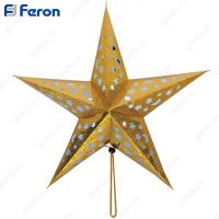 """Световая фигура из бумаги """"Звезда"""" золотая, 2*СR2032, 5LED (RGB) 45*45*6 см LT101"""
