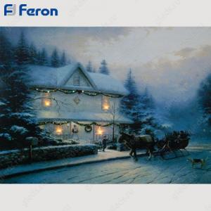 """Световое панно из световолокна """"Домик в снегу"""", 4 LED, 40*30*1,6 см LT119"""