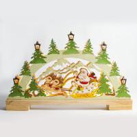 Деревянная световая фигура, 10LED, цвет свечения: теплый белый, 44*4,5*25 сm, батарейки 2*AA , IP20, LT085