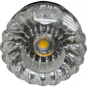 Светильник встраиваемый светодиодный JD88 потолочный 10W 3000K прозрачный хром
