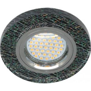 Светильник встраиваемый с белой LED подсветкой 8888-2 потолочный MR16 G5.3 черно-зеленый