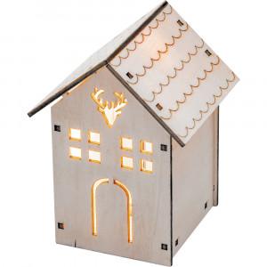 """LT123 деревянная световая фигура на батарейках """"Домик с оленем"""", теплый белый, 1LED, 8*8.5*11.5см, артикул 32091"""