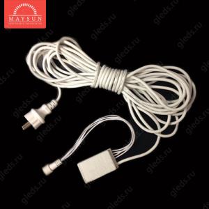 """Сетевой шнур с конроллером СТ-5 для гирлянды """"Сеть"""" 5м черный провод AC230V 440W"""
