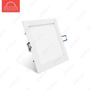 Светодиодный встраиваемый ультратонкий светильник DL-10-200х200 AC220V 10W Белый холодный 800lm (Белый корпус)