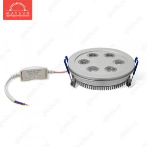 Светодиодный светильник LightLine LBE-111 AC230V 6W IP20 d100*H40 mm (5650-6300К)