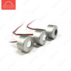 Мебельные светодиодные светильники (Комплект) MS-K303P-1 уг.30' 1LEDx3шт. (3W) c адаптером ХОЛОДНЫЙ БЕЛЫЙ