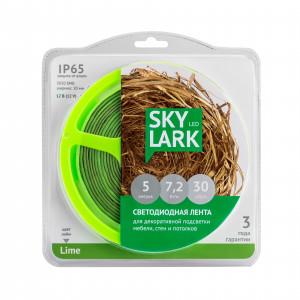 Лента светодиодная SkyLark 7,2 Вт/м, 12VDC, IP65, САЛАТОВЫЙ СИЛИКОН, 5 м ПЫЛЕВЛАГОЗАЩИЩЕННАЯ