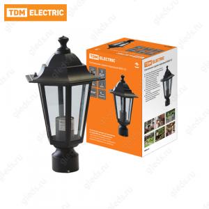 Светильник 6060-03 садово-парковый шестигранник, 60Вт, на опору, черный TDM