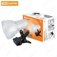 Светильник настольный прищепка 40Вт, E14 белый TDM