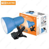 Светильник настольный прищепка 40Вт, E14 синий TDM