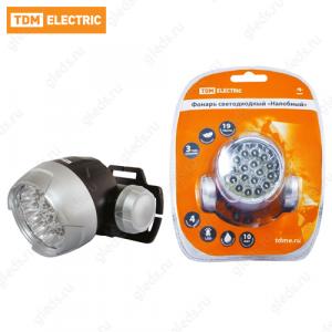 """Фонарь светодиодный """"Налобный"""", 18 светодиодов 54 лм/Вт, батареи типа 3*AAA (в комплект не входят) TDM"""