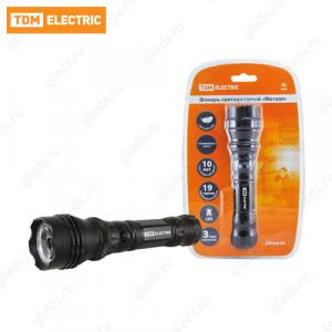 """Фонарь светодиодный """"Металл"""", 3 Вт светодиод 120 лм/Вт, батареи типа 3*AAA (в комплект не входят) TDM"""